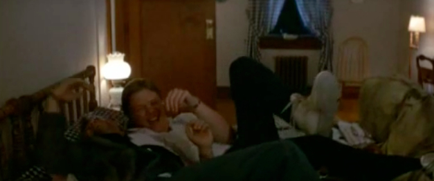 April Fools Day (1986 film) movie scenes Oh yes friends to turn the fictional world of movies even more upside down Biff and his fellow teen chum have a little homoerotic horse play in which Biff